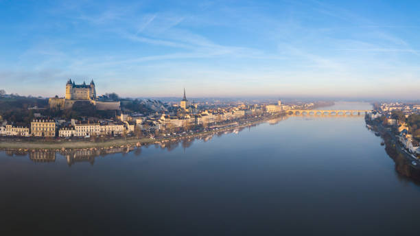 Saumur and the Loire river at sunrise stock photo