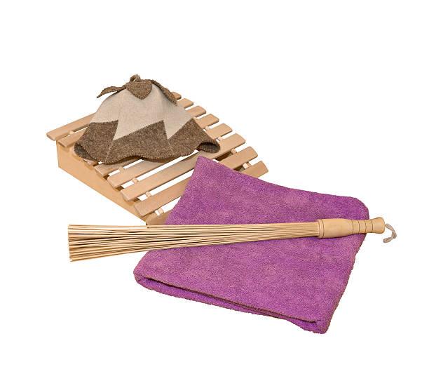 sauna-accessoires - sauna textilien stock-fotos und bilder