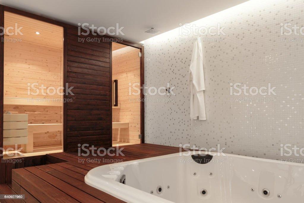 Sauna and Jacuzzi Bathtub stock photo