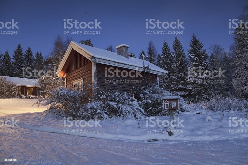 Sauna building in the middle of snow royalty-free stock photo