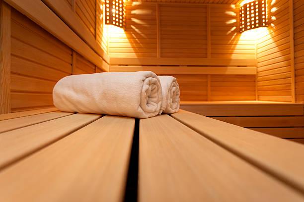 sauna-bild - sauna textilien stock-fotos und bilder