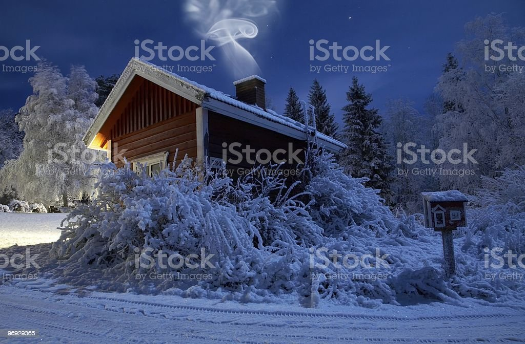 Sauna in winter moonlight royalty-free stock photo