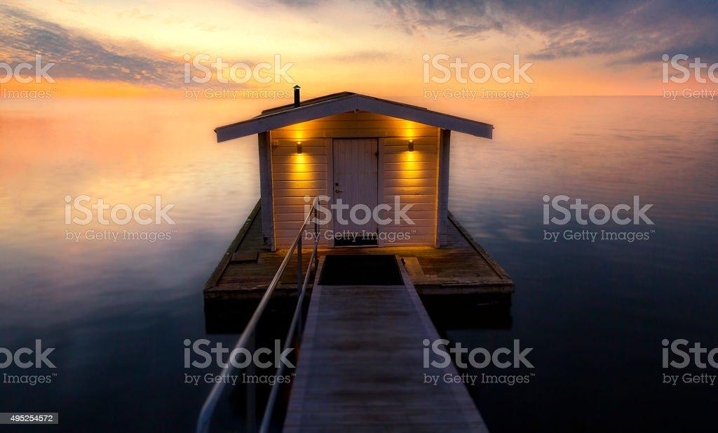 Sauna on a jetty stock photo