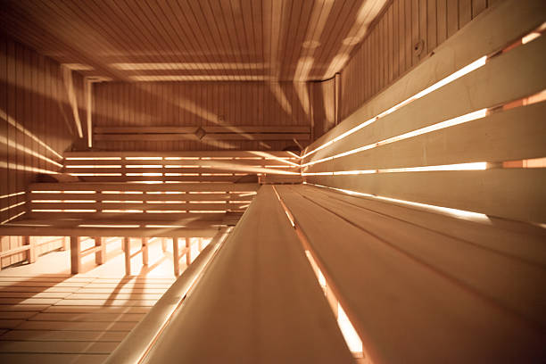 eine sauna - sauna textilien stock-fotos und bilder