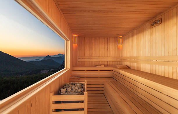Sauna luxury hotel Sauna with Mountain view sauna stock pictures, royalty-free photos & images