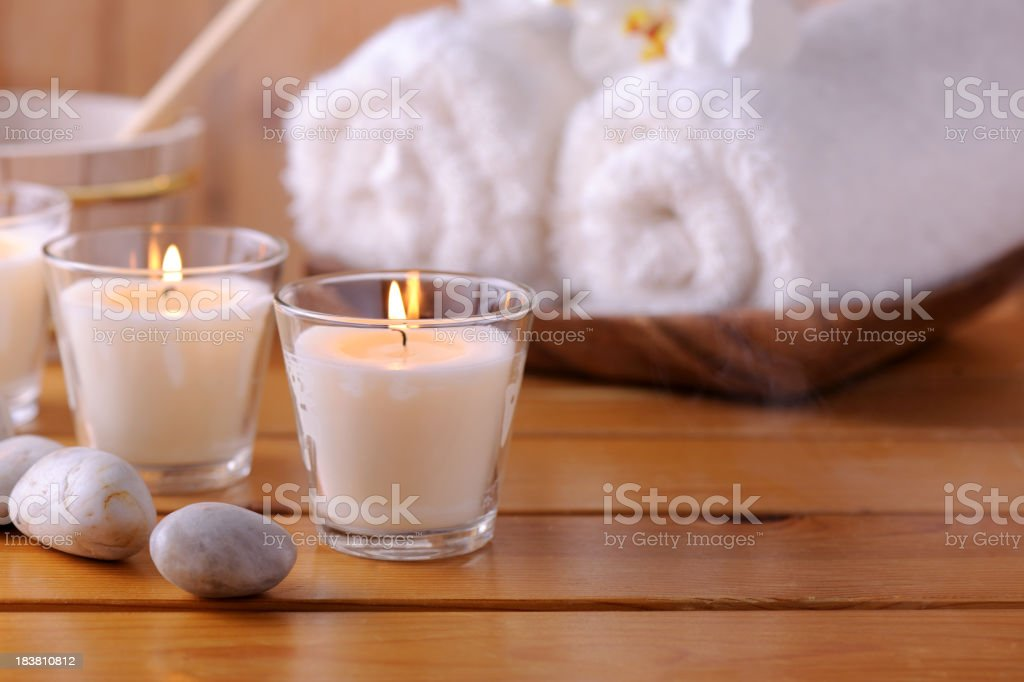 Sauna relaxation stock photo