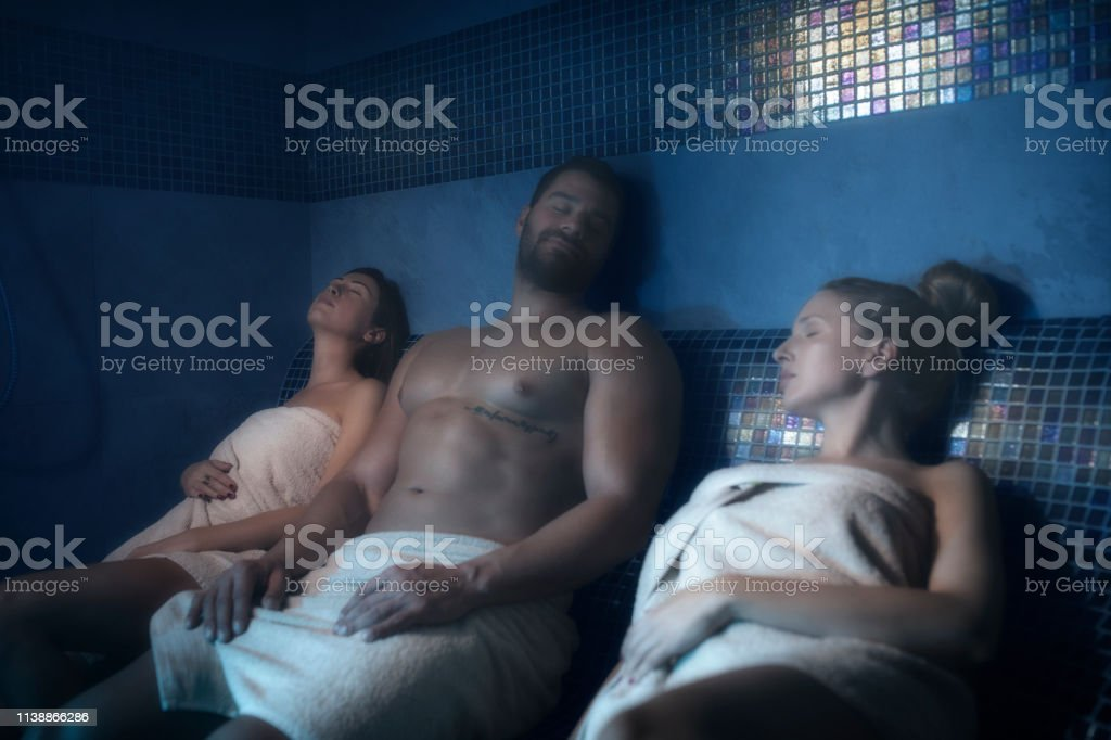 Sauna Relaxation Spa Treatment Group Of Friends Attractive