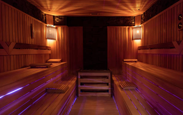 Sauna room in spa wellness center Sauna room in spa wellness center sauna stock pictures, royalty-free photos & images