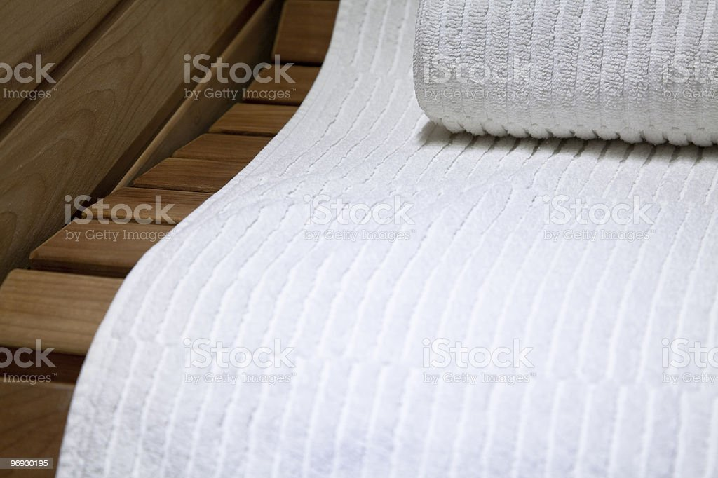 Sauna Seat and Terry Towels royalty-free stock photo