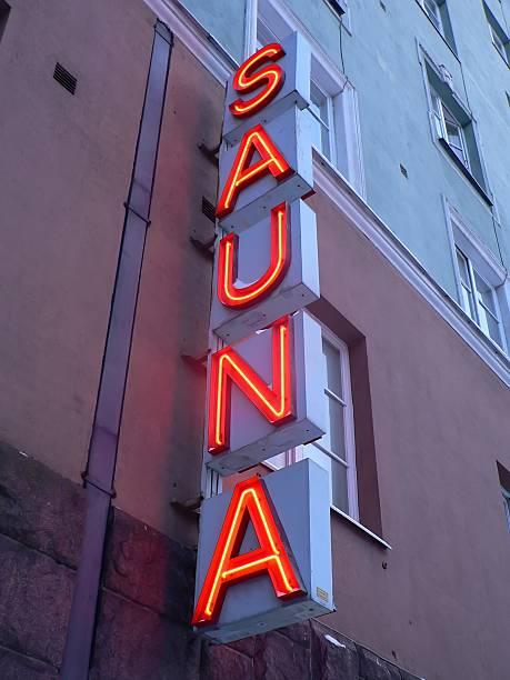 sauna sign stock photo