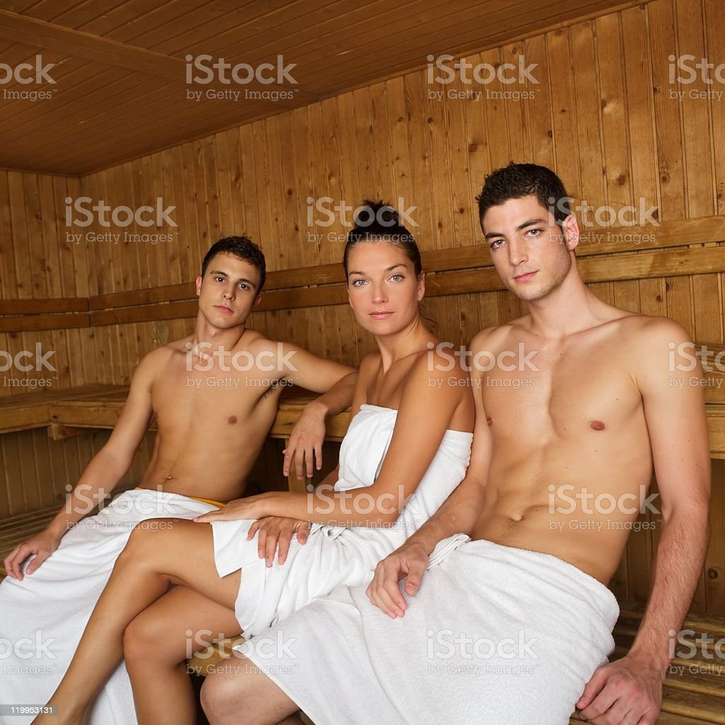 Sauna spa therapy young beautiful people group royalty-free stock photo