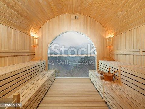 Sauna with beautiful landscape