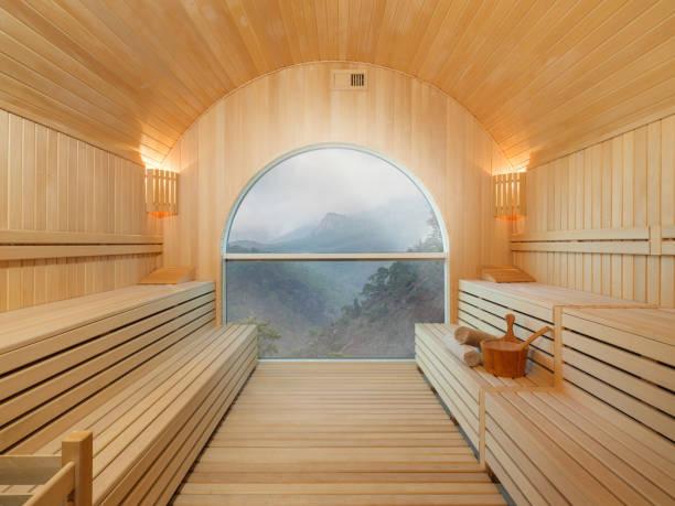 sauna-orman manzaralı - i̇nsan yapımı yapı stok fotoğraflar ve resimler