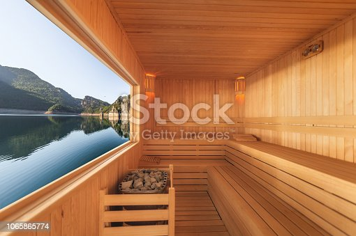 Sauna with mountain and lake view
