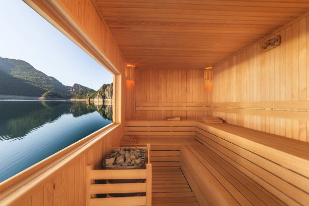 Sauna with mountain and lake view Sauna with mountain and lake view sauna stock pictures, royalty-free photos & images
