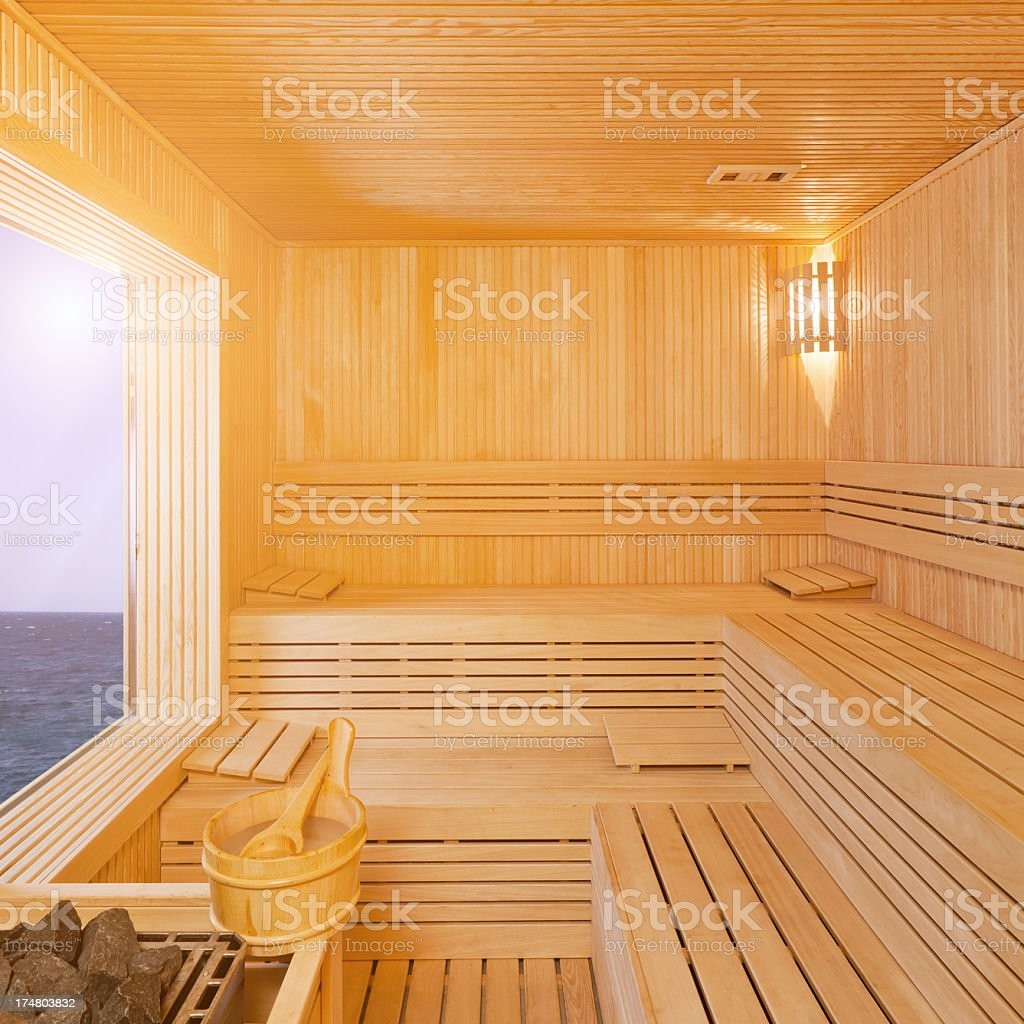sauna with sea view royalty-free stock photo