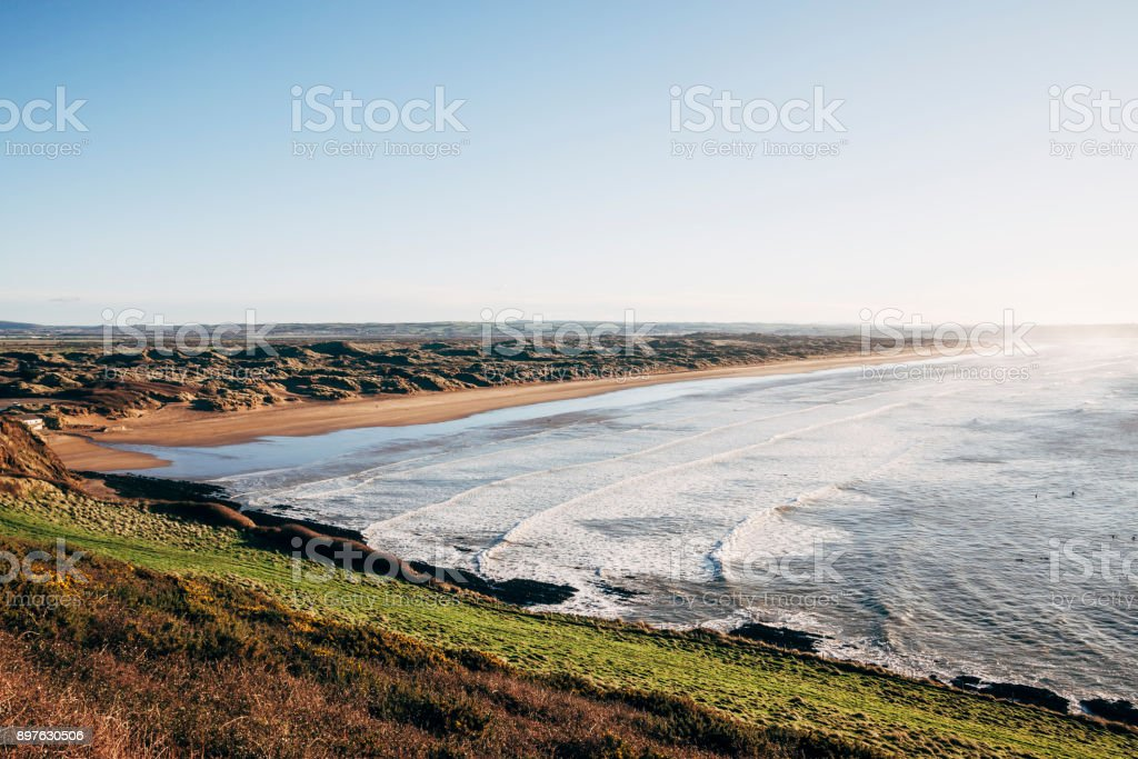 Saunton Sands beach on the coast of North Devon, England stock photo