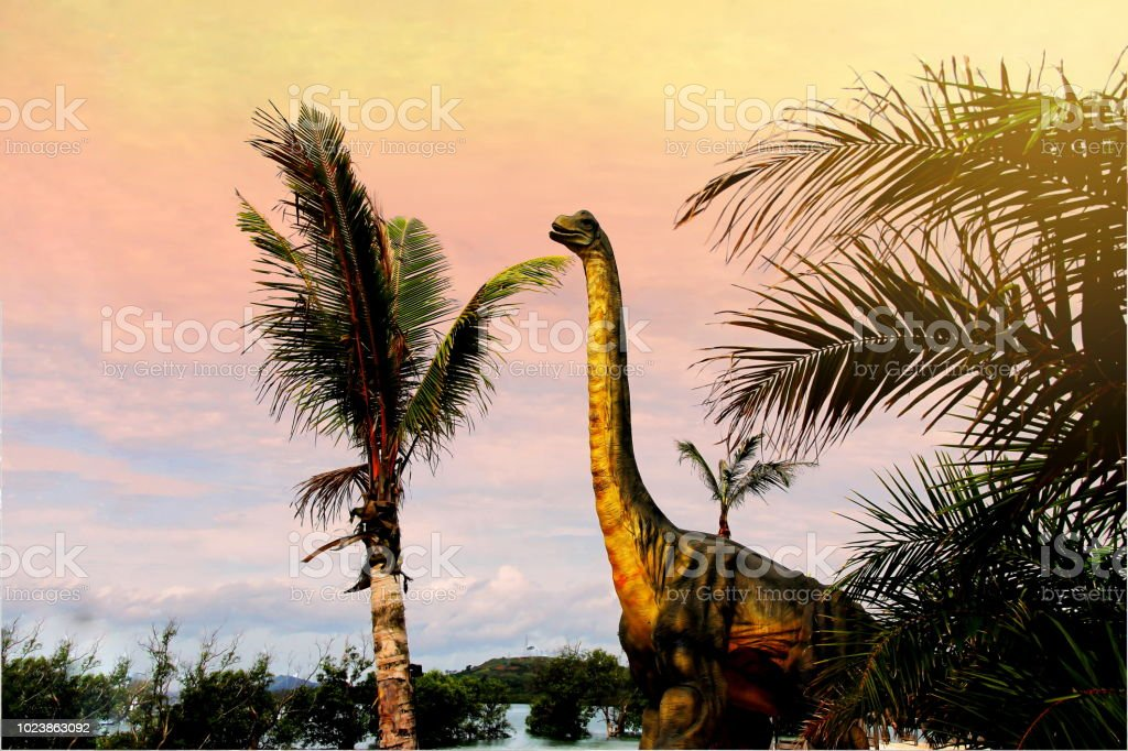 Sauropods Dinosaur  on the lost world landscape background concept. stock photo