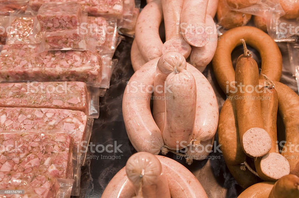 Sausage and aspic stock photo