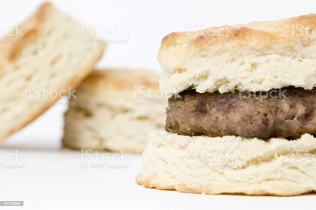 Sausage and Biscuit Breakfast royalty-free stock photo
