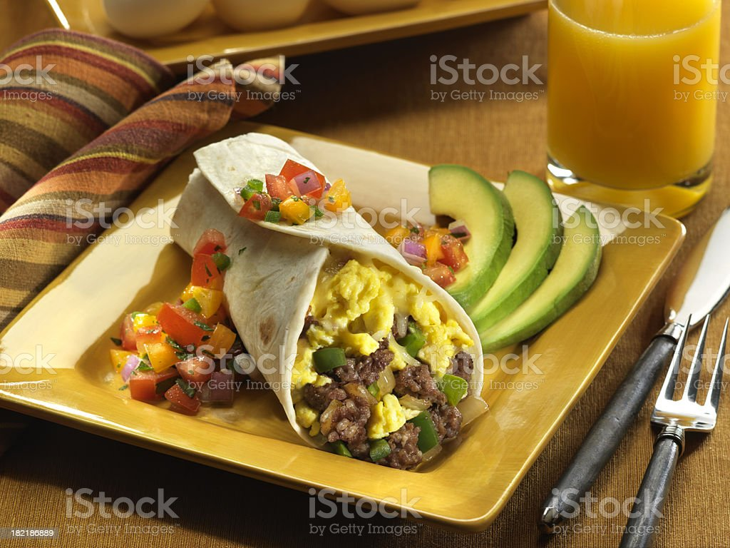 Sausage and Egg Breakfast Burrito royalty-free stock photo