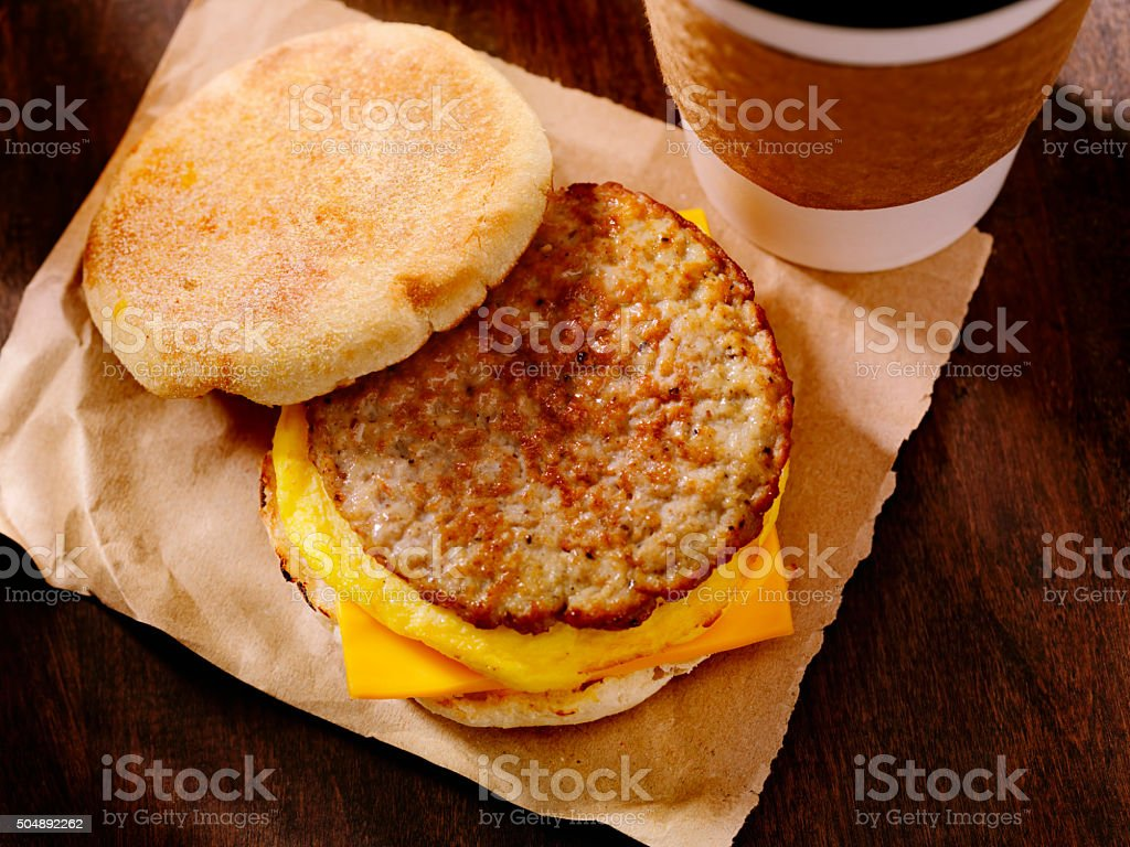 Sausage and Egg Breakfast Sandwich bildbanksfoto