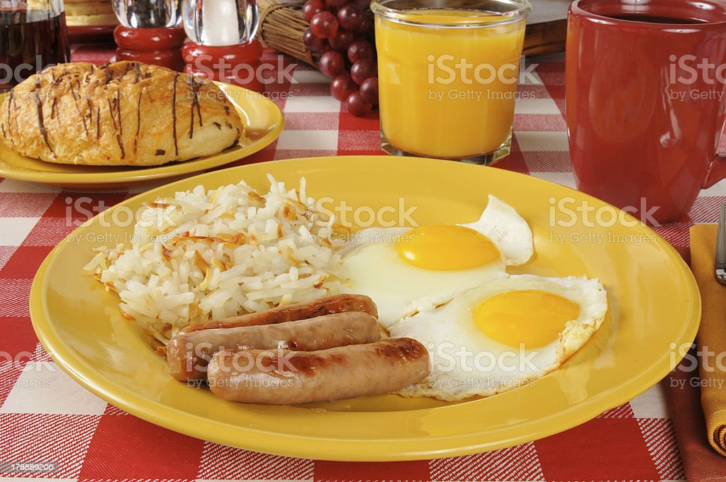 Sausage and eggs royalty-free stock photo