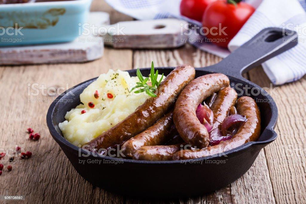 Sausage and onion casserole stock photo