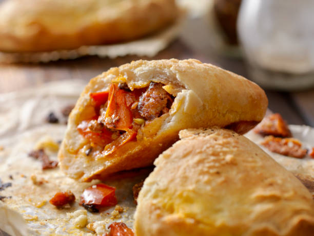 Sausage and Pepper Calzone stock photo