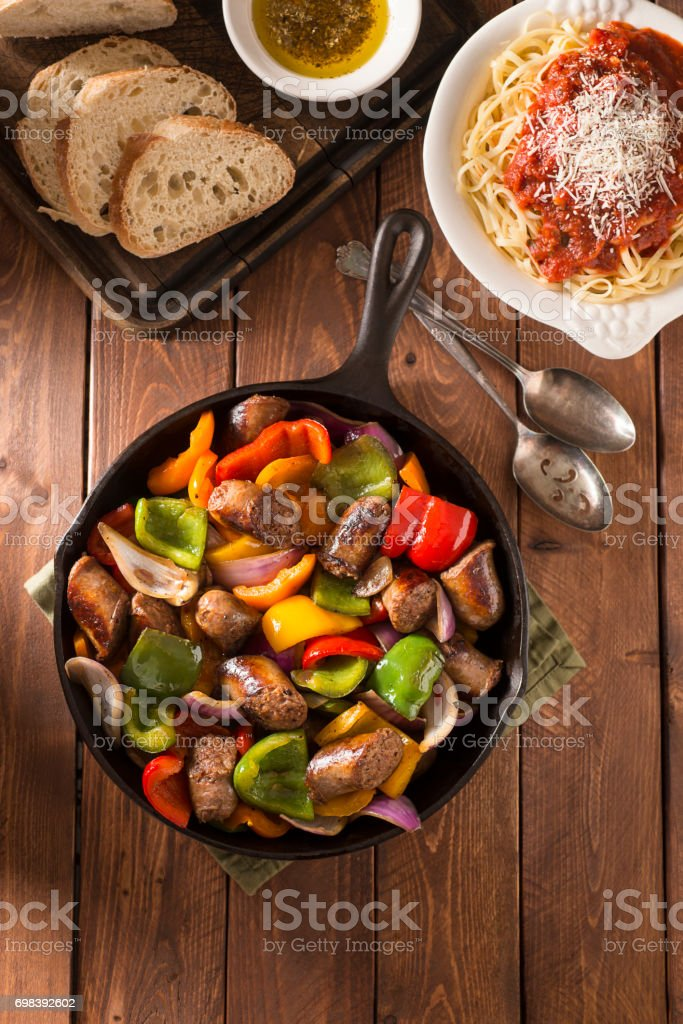 Sausage and Pepper stock photo