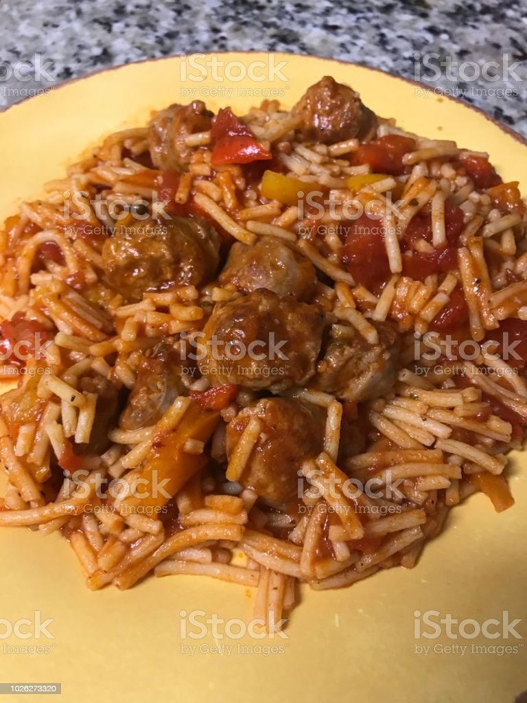 Sausage And Peppers With Spaghetti Stock Photo - Download
