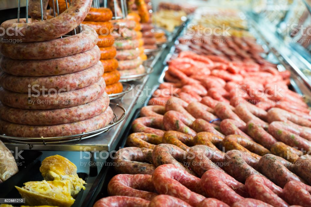 sausage assort on counter stock photo