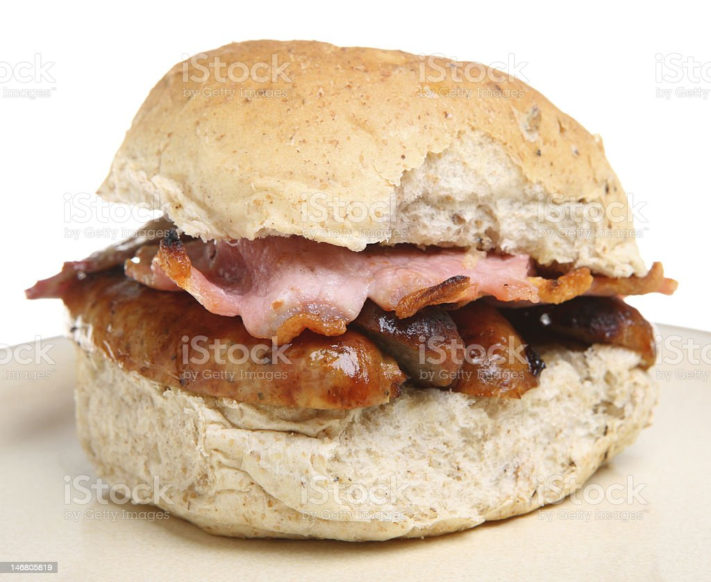 Sausage & Bacon Roll stock photo
