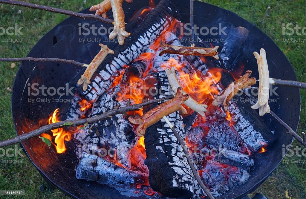 Sausage barbecue and campfire in a fire bowl stock photo