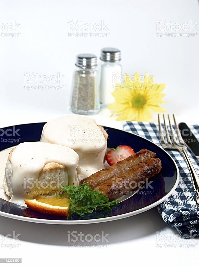 Sausage Biscuits Gravy royalty-free stock photo
