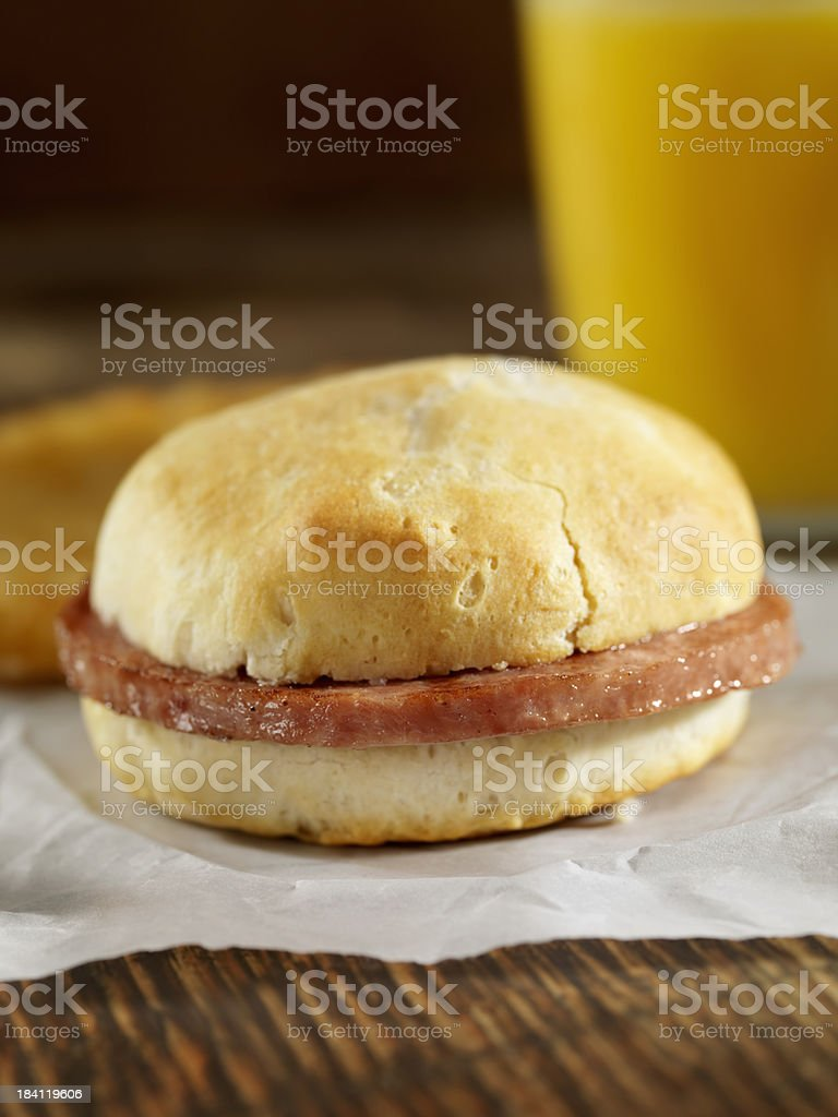 Sausage Breakfast Sandwich royalty-free stock photo