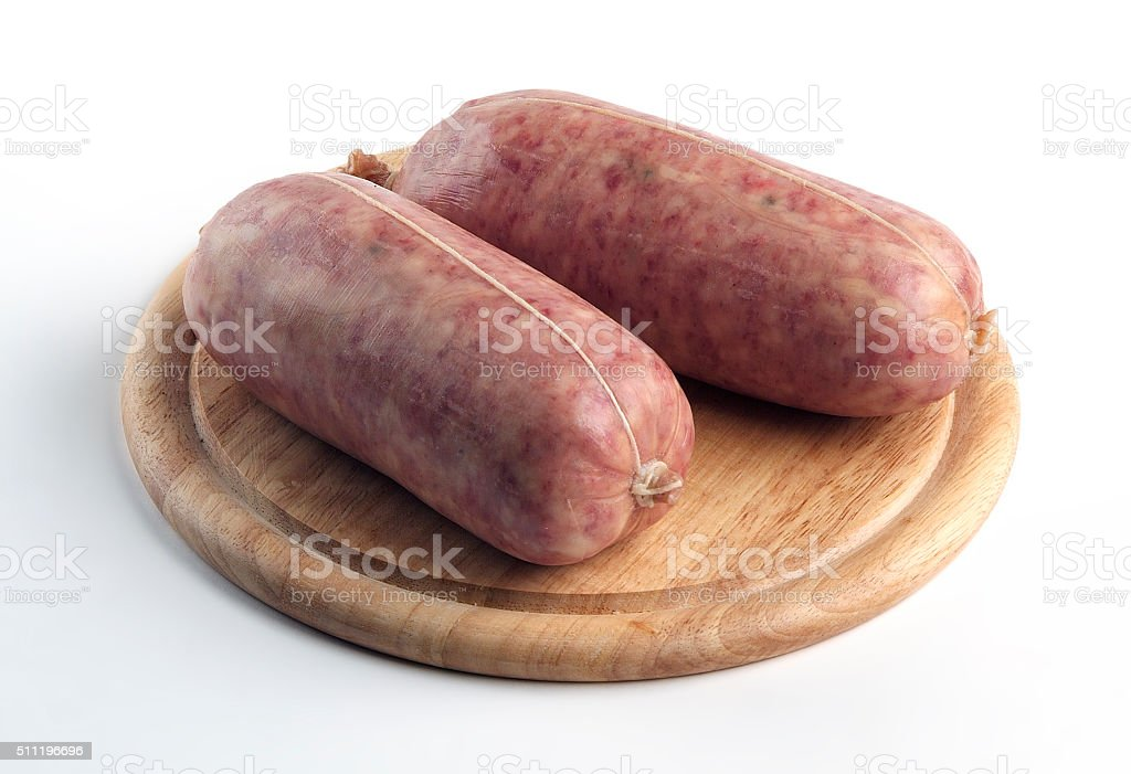 Sausage Cotechino on cutting board stock photo
