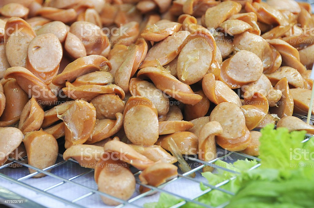 Sausage, cut into small pieces. royalty-free stock photo