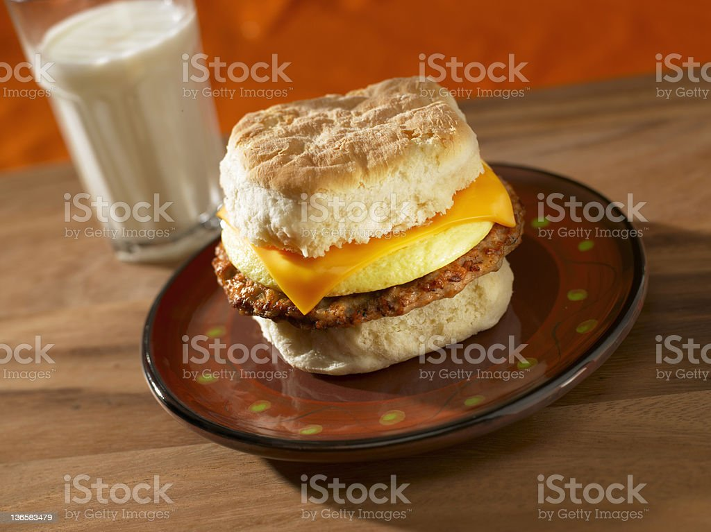 Sausage, Egg and Cheese Breakfast Sandwich royalty-free stock photo