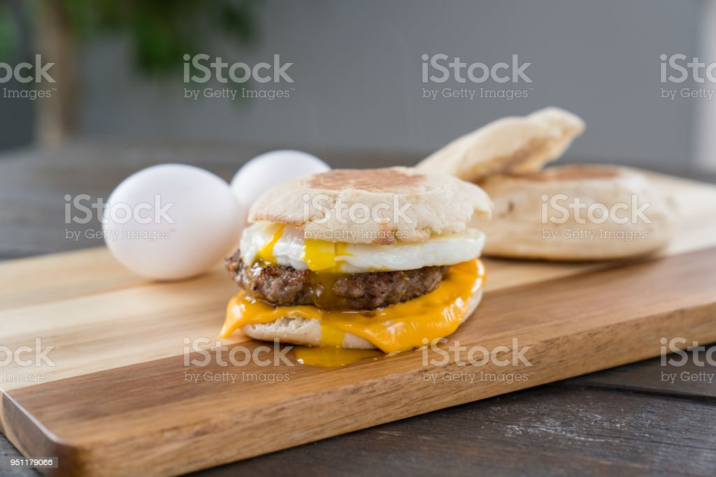 Sausage, Egg and Cheese Breakfast Sandwich with Yoke stock photo