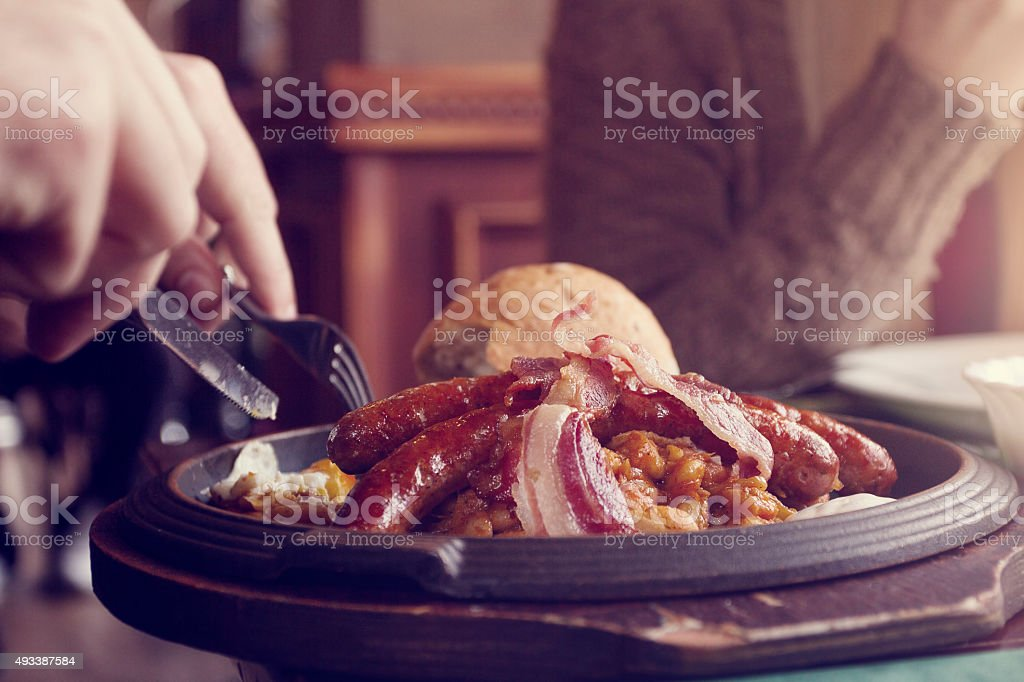 Sausage, eggs and bacon stock photo