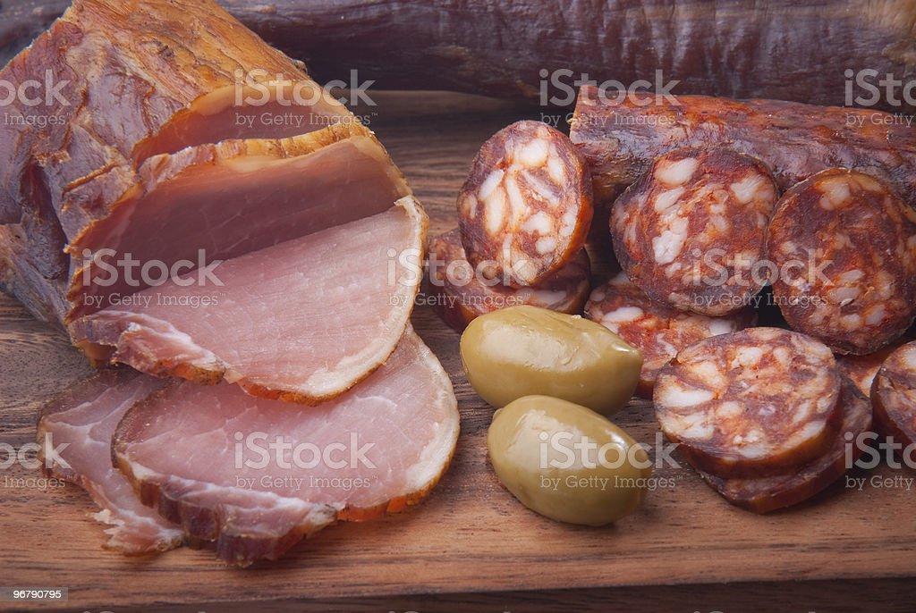 Sausage, ham, olive, stock photo