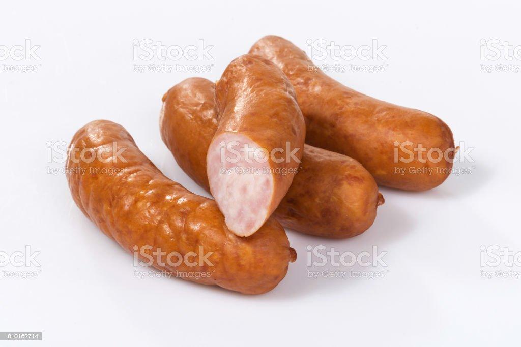 Sausage isolated on white stock photo
