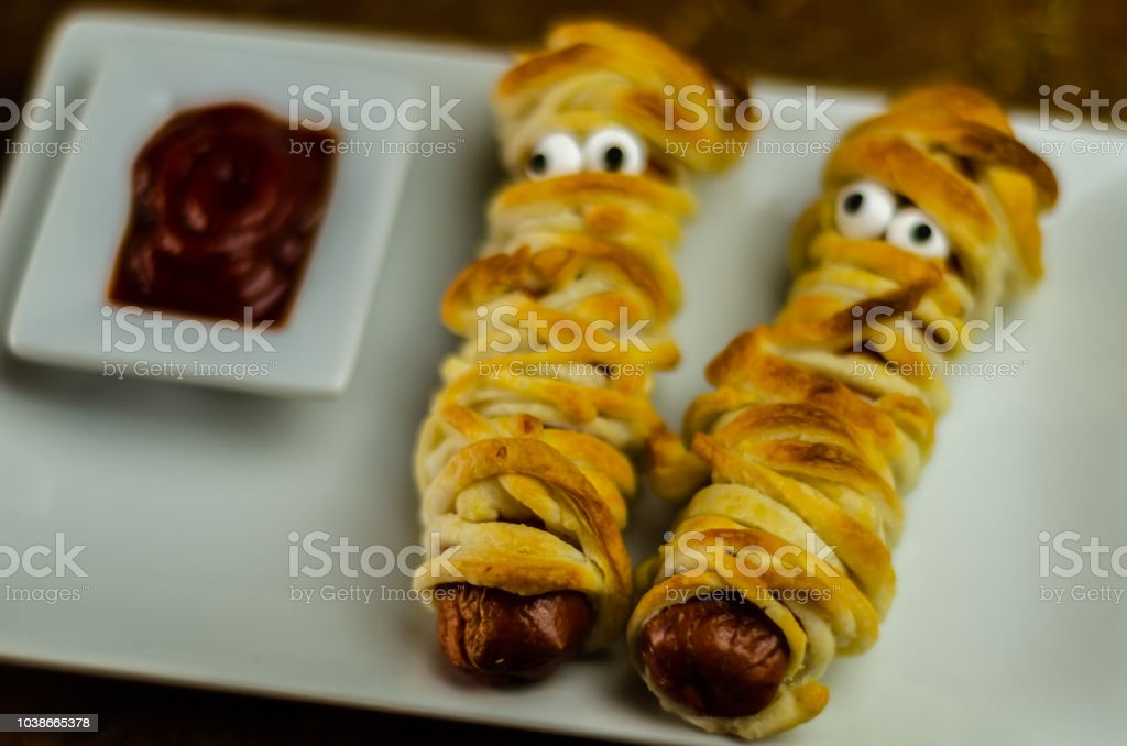 Sausage Mummies In Dough Scary Halloween Food Celebration Party With