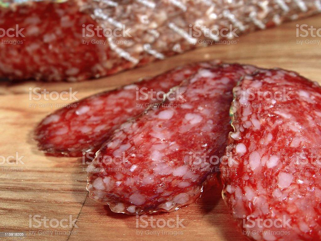 Sausage of a salami royalty-free stock photo