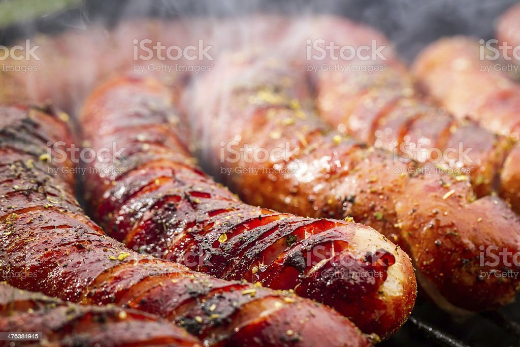 Sausage on the grill stock photo