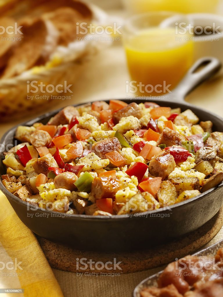 Sausage Pan Scrambler royalty-free stock photo