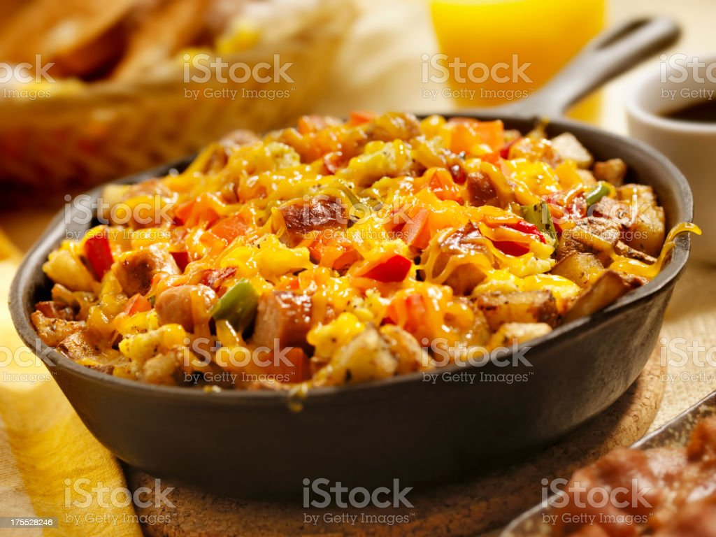 Sausage Pan Scrambler with Cheddar Cheese stock photo