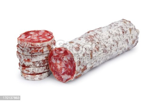 Dry cured sausage isolated on white.