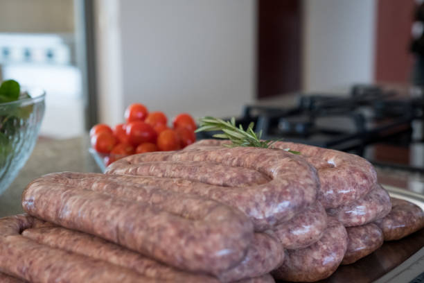 Sausage ready for the barbecue stock photo